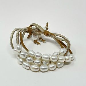 New Free People Freshwater Pearl  Leather Bracelet